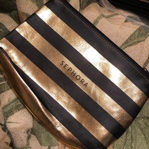 Sephora black & gold striped makeup bag NEW